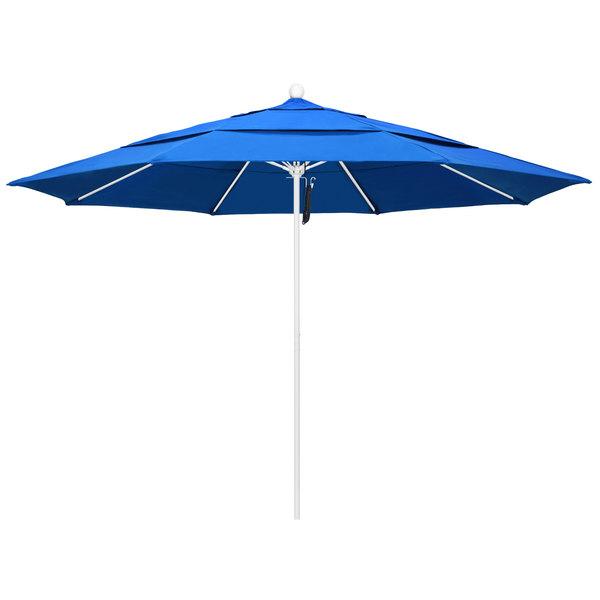 "Royal Blue Fabric California Umbrella ALTO 118 OLEFIN Venture 11' Round Pulley Lift Umbrella with 1 1/2"" Matte White Aluminum Pole - Olefin Canopy"