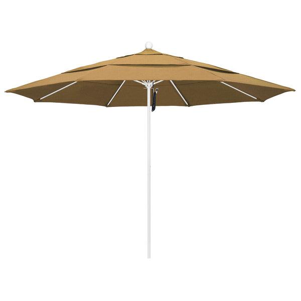 """Straw Fabric California Umbrella ALTO 118 OLEFIN Venture 11' Round Pulley Lift Umbrella with 1 1/2"""" Matte White Aluminum Pole - Olefin Canopy"""