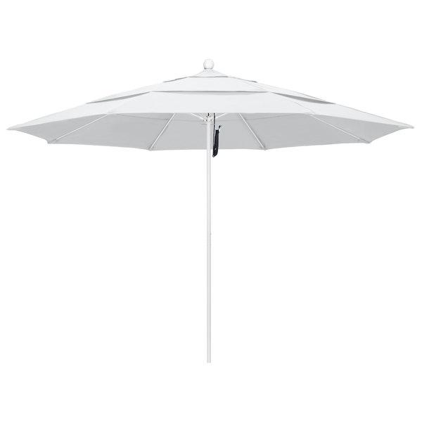 """White Fabric California Umbrella ALTO 118 OLEFIN Venture 11' Round Pulley Lift Umbrella with 1 1/2"""" Matte White Aluminum Pole - Olefin Canopy"""