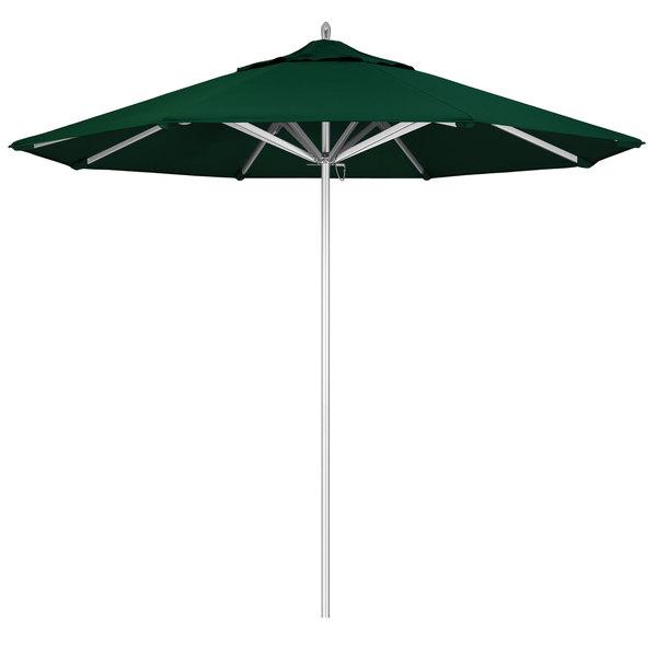 "Forest Green Fabric California Umbrella AAT 908 SUNBRELLA 1A Rodeo 9' Round Push Lift Umbrella with 1 1/2"" Aluminum Pole - Sunbrella 1A Canopy"