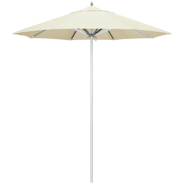 "Canvas Fabric California Umbrella AAT 758 SUNBRELLA 1A Rodeo 7 1/2' Round Push Lift Umbrella with 1 1/2"" Aluminum Pole - Sunbrella 1A Canopy"