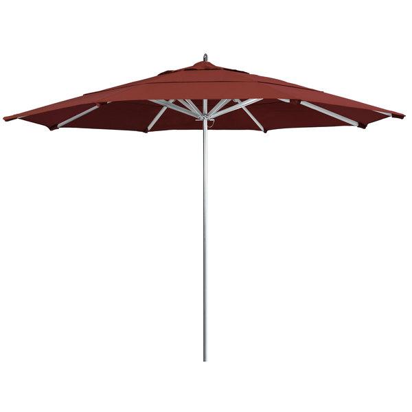 "Terracotta Fabric California Umbrella AAT 118 SUNBRELLA 2A Rodeo 11' Round Push Lift Umbrella with 1 1/2"" Aluminum Pole - Sunbrella 2A Canopy"