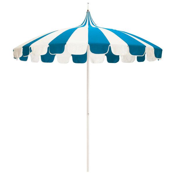 "Natural and Pacific Blue Fabric California Umbrella SMPT 852 SUNBRELLA 1 Pagoda 8 1/2' Round Push Lift Umbrella with 1 1/2"" Aluminum Pole - Sunbrella 1A Canopy"