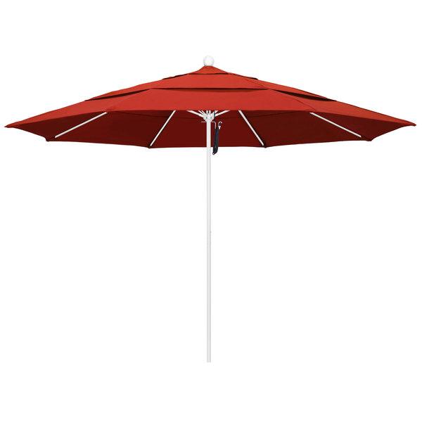 "Sunset Fabric California Umbrella ALTO 118 OLEFIN Venture 11' Round Pulley Lift Umbrella with 1 1/2"" Matte White Aluminum Pole - Olefin Canopy"