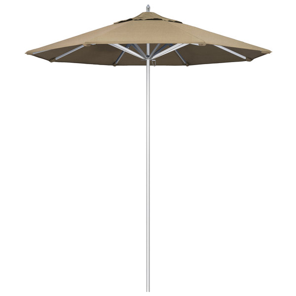 "Heather Beige Fabric California Umbrella AAT 758 SUNBRELLA 1A Rodeo Customizable 7 1/2' Round Push Lift Umbrella with 1 1/2"" Aluminum Pole - Sunbrella 1A Canopy"