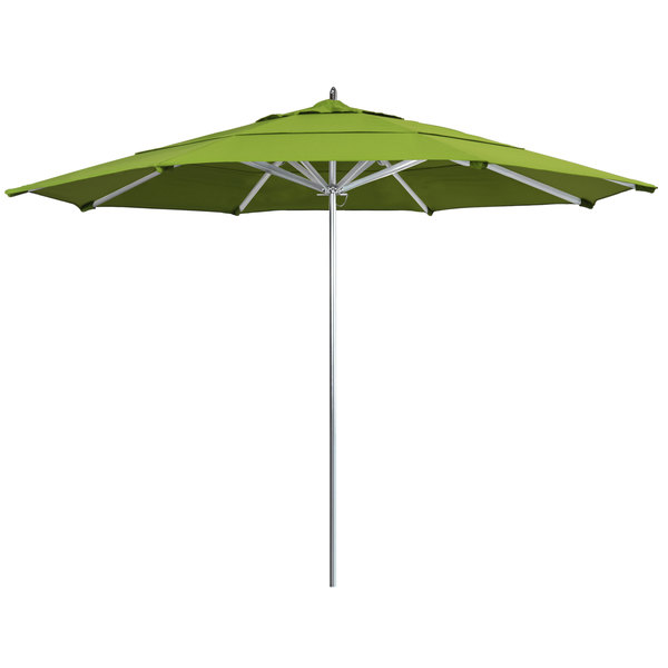 "Macaw Fabric California Umbrella AAT 118 SUNBRELLA 2A Rodeo 11' Round Push Lift Umbrella with 1 1/2"" Aluminum Pole - Sunbrella 2A Canopy"