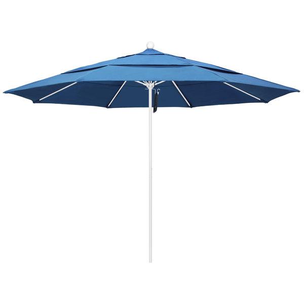 """Capri Fabric California Umbrella ALTO 118 PACIFICA Venture 11' Round Pulley Lift Umbrella with 1 1/2"""" Matte White Aluminum Pole - Pacifica Canopy"""