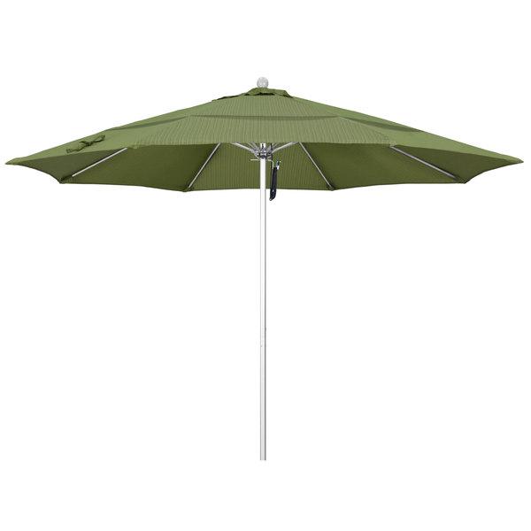 "Terrace Fern Fabric California Umbrella ALTO 118 OLEFIN Venture 11' Round Pulley Lift Umbrella with 1 1/2"" Silver Anodized Aluminum Pole - Olefin Canopy"