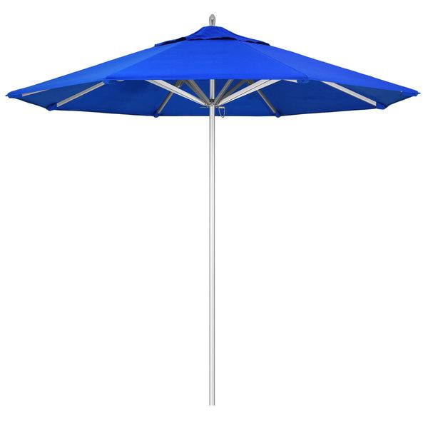"Pacific Blue Fabric California Umbrella AAT 908 SUNBRELLA 1A Rodeo Customizable 9' Round Push Lift Umbrella with 1 1/2"" Aluminum Pole - Sunbrella 1A Canopy"