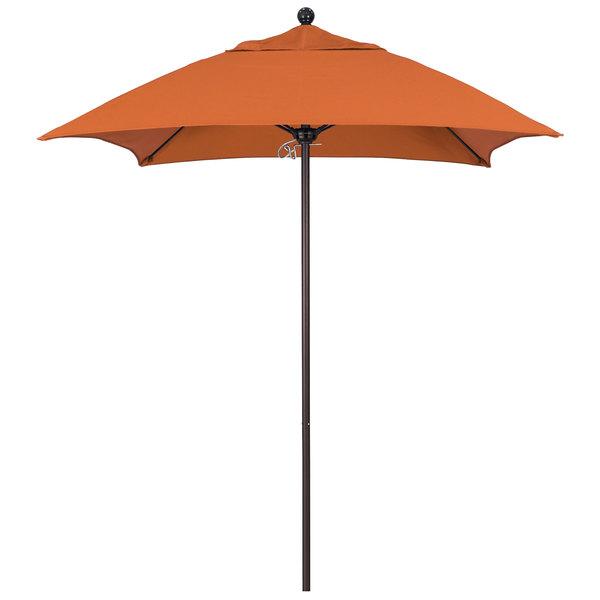 "Tuscan Fabric California Umbrella ALTO 604 SUNBRELLA 2A Venture 6' Square Push Lift Umbrella with 1 1/2"" Bronze Aluminum Pole - Sunbrella 2A Canopy"