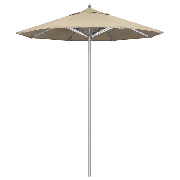 "Beige Fabric California Umbrella AAT 758 SUNBRELLA 1A Rodeo Customizable 7 1/2' Round Push Lift Umbrella with 1 1/2"" Aluminum Pole - Sunbrella 1A Canopy"
