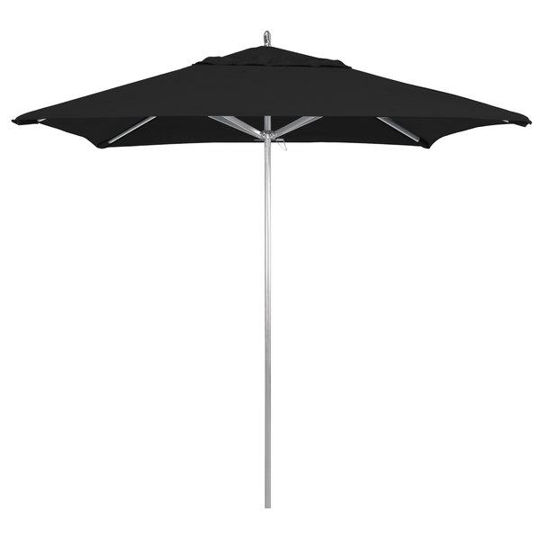 "Black Fabric California Umbrella AAT 75754 SUNBRELLA 1A Rodeo 7 1/2' Square Customizable Push Lift Umbrella with 1 1/2"" Aluminum Pole - Sunbrella 1A Canopy"