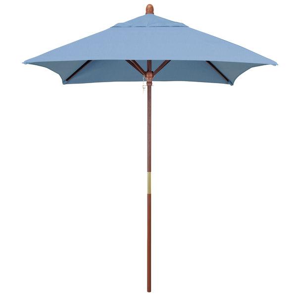 "Air Blue Fabric California Umbrella MARE 604 SUNBRELLA 1A Grove 6' Square Push Lift Umbrella with 1 1/2"" Hardwood Pole - Sunbrella 1A Canopy"