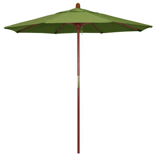 "Spectrum Cilantro Fabric California Umbrella MARE 758 SUNBRELLA 1A Grove 7 1/2' Round Push Lift Umbrella with 1 1/2"" Hardwood Pole - Sunbrella 1A Canopy"