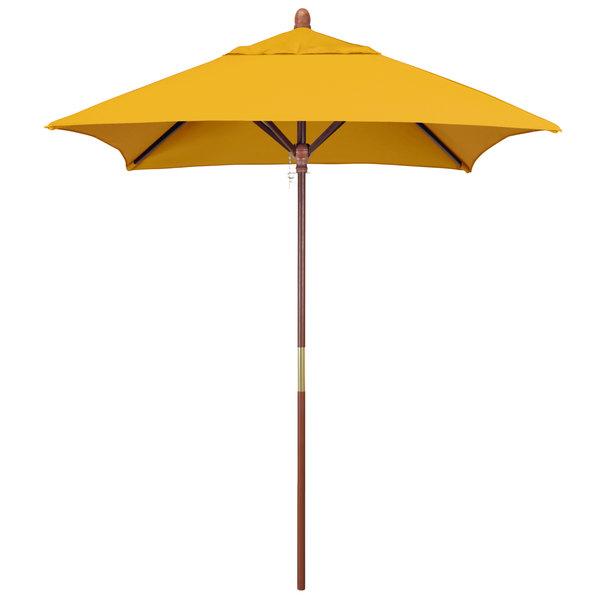 "Sunflower Yellow Fabric California Umbrella MARE 604 SUNBRELLA 1A Grove 6' Square Push Lift Umbrella with 1 1/2"" Hardwood Pole - Sunbrella 1A Canopy"