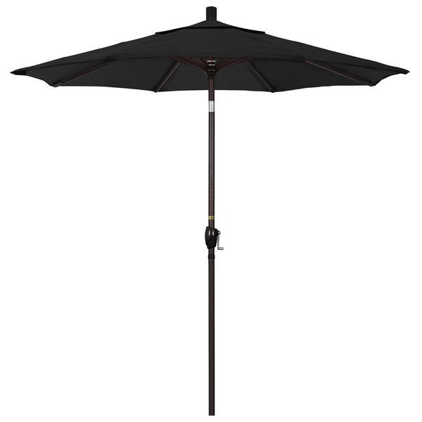 "Black Fabric California Umbrella GSPT 758 PACIFICA Pacific Trail 7 1/2' Crank Lift Umbrella with 1 1/2"" Bronze Aluminum Pole"