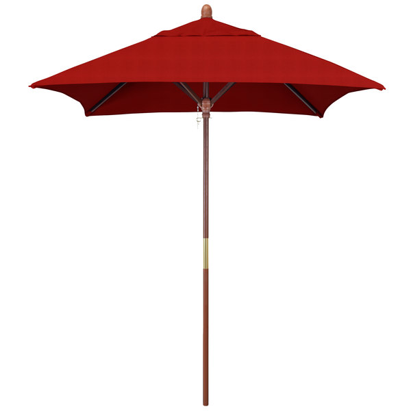 "Jockey Red Fabric California Umbrella MARE 604 SUNBRELLA 2A Grove 6' Square Push Lift Umbrella with 1 1/2"" Hardwood Pole - Sunbrella 2A Canopy"