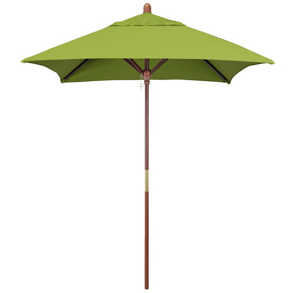 "Macaw Fabric California Umbrella MARE 604 SUNBRELLA 2A Grove 6' Square Push Lift Umbrella with 1 1/2"" Hardwood Pole - Sunbrella 2A Canopy"