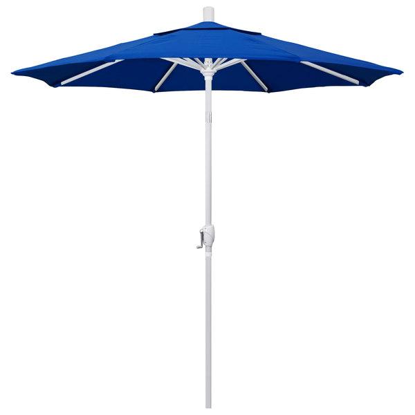 """Pacific Blue Fabric California Umbrella GSPT 758 PACIFICA Pacific Trail 7 1/2' Crank Lift Umbrella with 1 1/2"""" Matte White Aluminum Pole"""