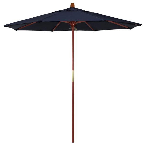"Navy Fabric California Umbrella MARE 758 SUNBRELLA 1A Grove 7 1/2' Round Push Lift Umbrella with 1 1/2"" Hardwood Pole - Sunbrella 1A Canopy"