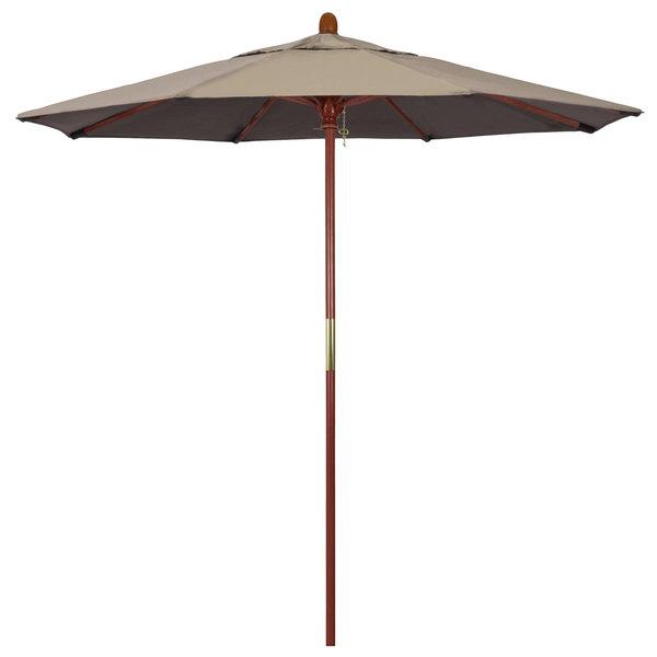 "Taupe Fabric California Umbrella MARE 758 SUNBRELLA 1A Grove Customizable 7 1/2' Round Push Lift Umbrella with 1 1/2"" Hardwood Pole - Sunbrella 1A Canopy"