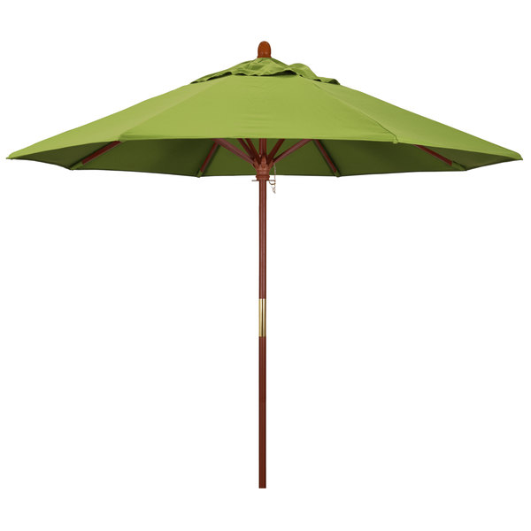 "Macaw Fabric California Umbrella MARE 908 SUNBRELLA 2A Grove 9' Round Push Lift Umbrella with 1 1/2"" Hardwood Pole - Sunbrella 2A Canopy"