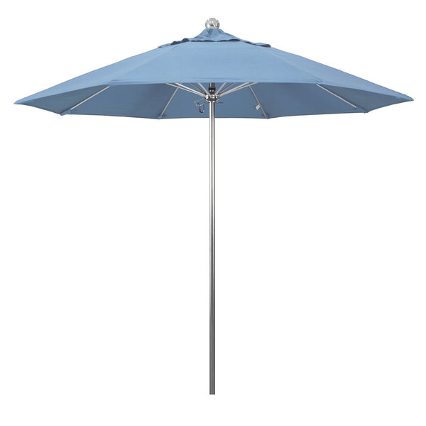 "Air Blue Fabric California Umbrella LUXY 908 SUNBRELLA 1A Allure 9' Round Push Lift Umbrella with 1 1/2"" Stainless Steel Pole - Sunbrella 1A Canopy"