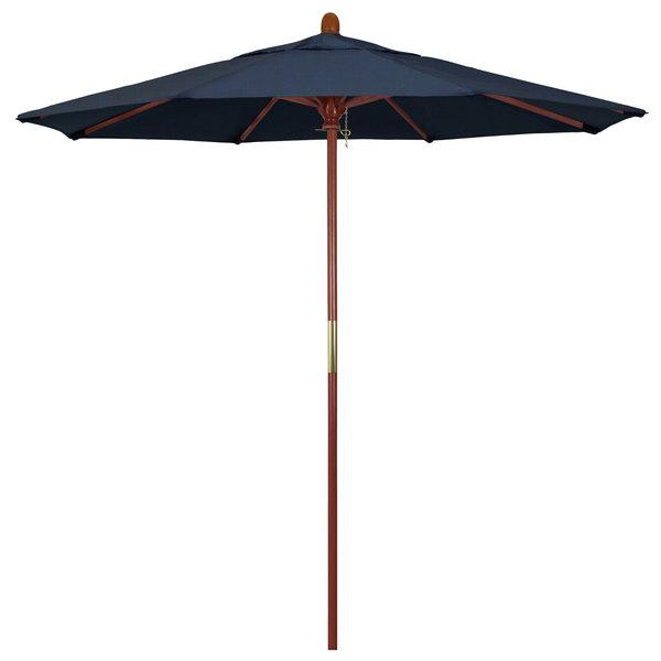 "Spectrum Indigo Fabric California Umbrella MARE 758 SUNBRELLA 1A Grove 7 1/2' Round Push Lift Umbrella with 1 1/2"" Hardwood Pole - Sunbrella 1A Canopy"
