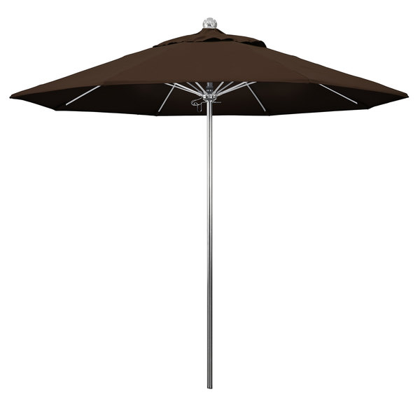 "Mocha Fabric California Umbrella LUXY 908 PACIFICA Allure 9' Round Push Lift Umbrella with 1 1/2"" Stainless Steel Pole - Pacifica Canopy"