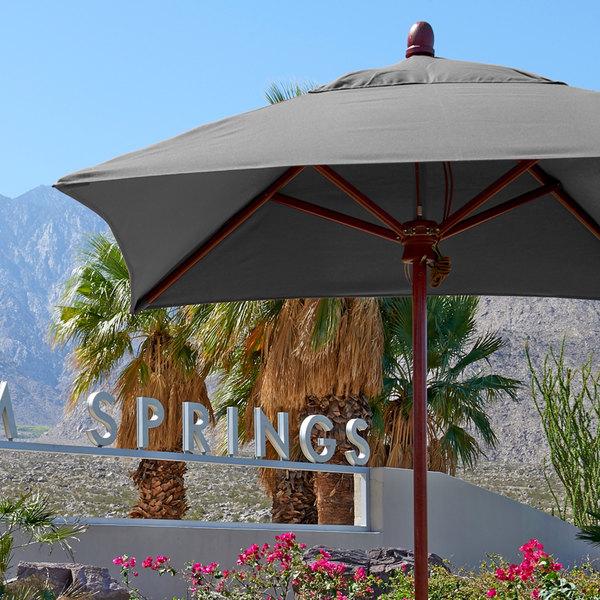 "California Umbrella MARE 604 SUNBRELLA 1A Grove Customizable 6' Square Push Lift Umbrella with 1 1/2"" Hardwood Pole - Sunbrella 1A Canopy"