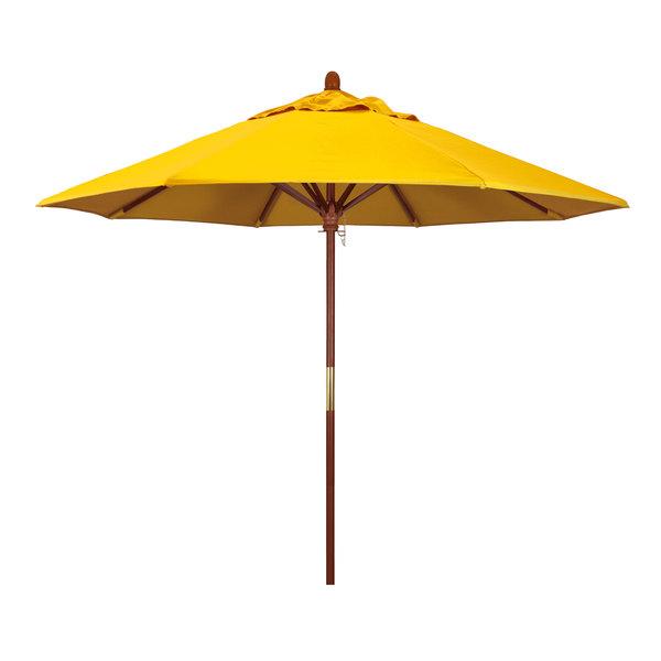 "Sunflower Yellow Fabric California Umbrella MARE 908 SUNBRELLA 1A Grove Customizable 9' Round Push Lift Umbrella with 1 1/2"" Hardwood Pole - Sunbrella 1A Canopy"