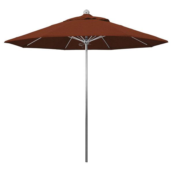 "Terracotta Fabric California Umbrella LUXY 908 OLEFIN Allure 9' Round Push Lift Umbrella with 1 1/2"" Stainless Steel Pole - Olefin Canopy"