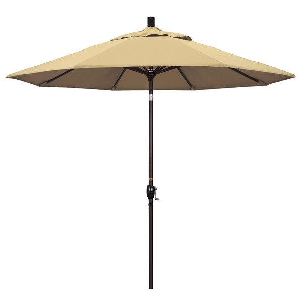 "Beige Fabric California Umbrella GSPT 908 PACIFICA Pacific Trail 9' Crank Lift Umbrella with 1 1/2"" Bronze Aluminum Pole"