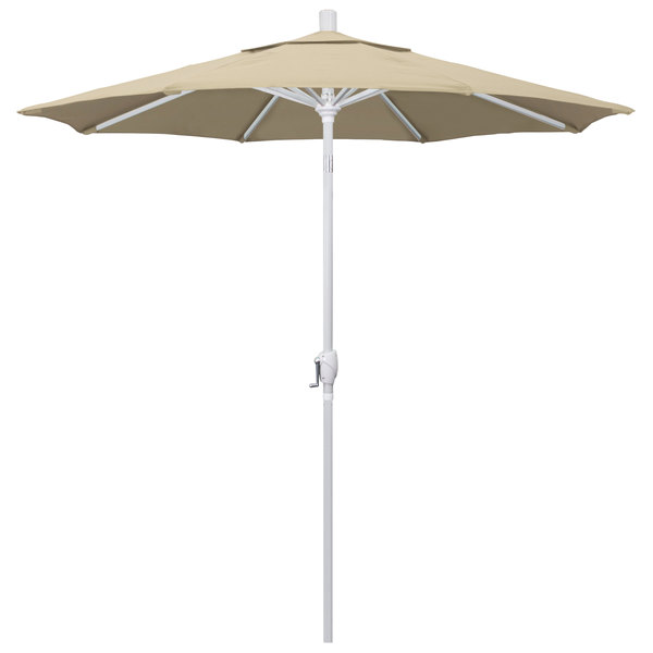 "Beige Fabric California Umbrella GSPT 758 PACIFICA Pacific Trail 7 1/2' Crank Lift Umbrella with 1 1/2"" Matte White Aluminum Pole"