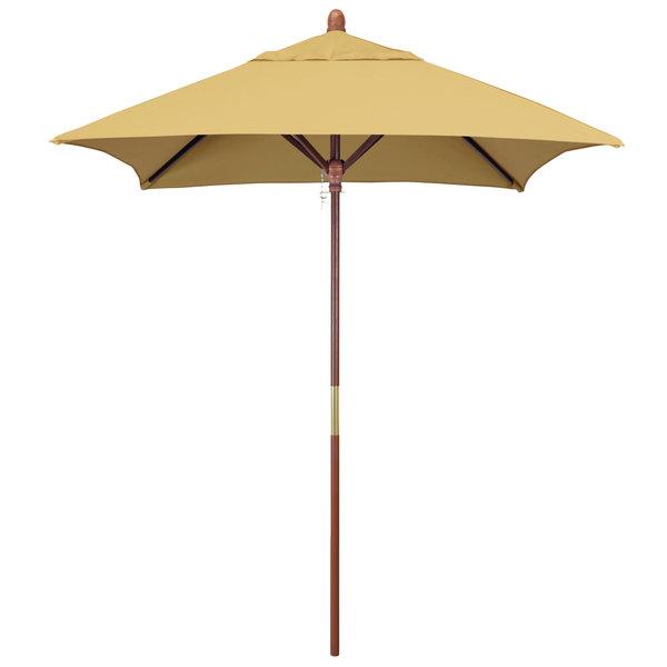 "Wheat Fabric California Umbrella MARE 604 SUNBRELLA 1A Grove 6' Square Customizable Push Lift Umbrella with 1 1/2"" Hardwood Pole - Sunbrella 1A Canopy"