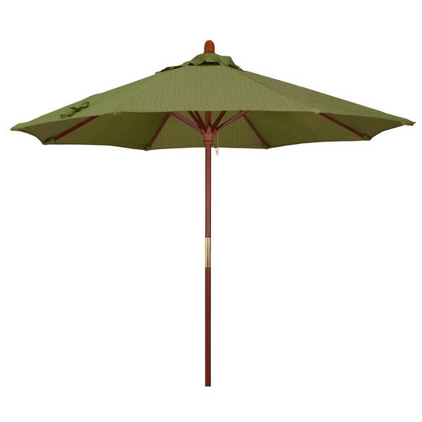 "Terrace Fern Fabric California Umbrella MARE 908 OLEFIN Grove 9' Round Push Lift Umbrella with 1 1/2"" Hardwood Pole - Olefin Canopy"