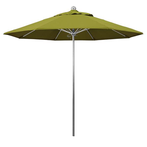 "Ginko Fabric California Umbrella LUXY 908 PACIFICA Allure 9' Round Push Lift Umbrella with 1 1/2"" Stainless Steel Pole - Pacifica Canopy"