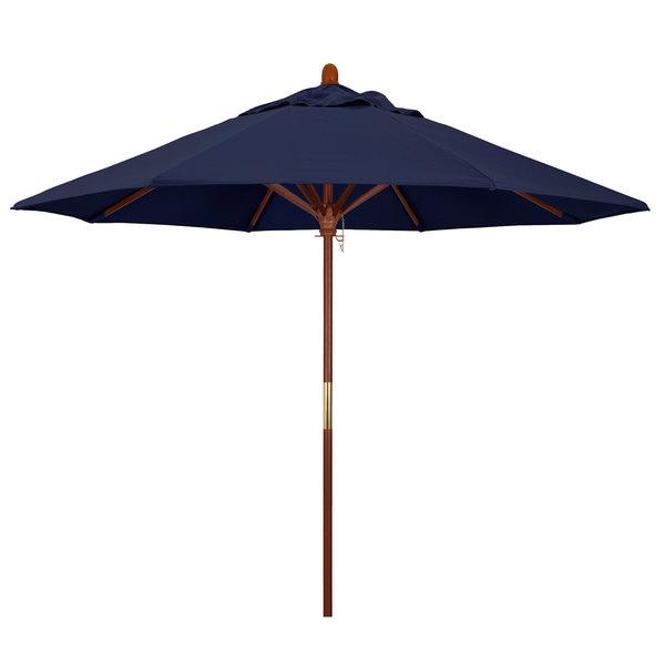 "Navy Fabric California Umbrella MARE 908 OLEFIN Grove 9' Round Push Lift Umbrella with 1 1/2"" Hardwood Pole - Olefin Canopy"