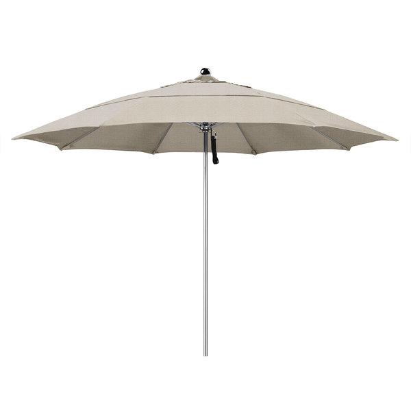 "Woven Granite Fabric California Umbrella LUXY 118 OLEFIN Allure 11' Round Pulley Lift Umbrella with 1 1/2"" Stainless Steel Pole - Olefin Canopy"