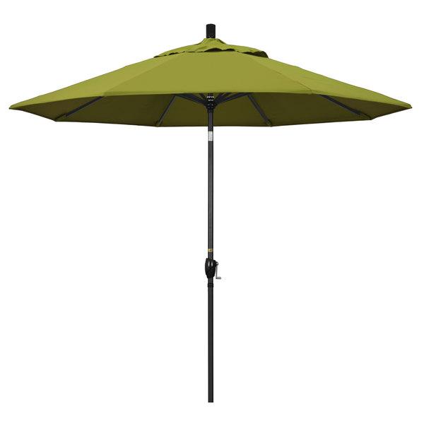 """Ginko Fabric California Umbrella GSPT 908 PACIFICA Pacific Trail 9' Crank Lift Umbrella with 1 1/2"""" Stone Black Aluminum Pole"""