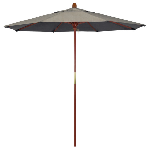 "Spectrum Dove Fabric California Umbrella MARE 758 SUNBRELLA 1A Grove 7 1/2' Round Push Lift Umbrella with 1 1/2"" Hardwood Pole - Sunbrella 1A Canopy"