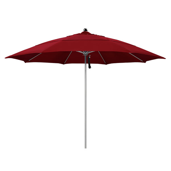 "Jockey Red Fabric California Umbrella LUXY 118 OLEFIN Allure 11' Round Pulley Lift Umbrella with 1 1/2"" Stainless Steel Pole - Olefin Canopy"