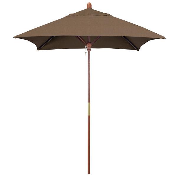 "Cocoa Fabric California Umbrella MARE 604 SUNBRELLA 1A Grove 6' Square Customizable Push Lift Umbrella with 1 1/2"" Hardwood Pole - Sunbrella 1A Canopy"