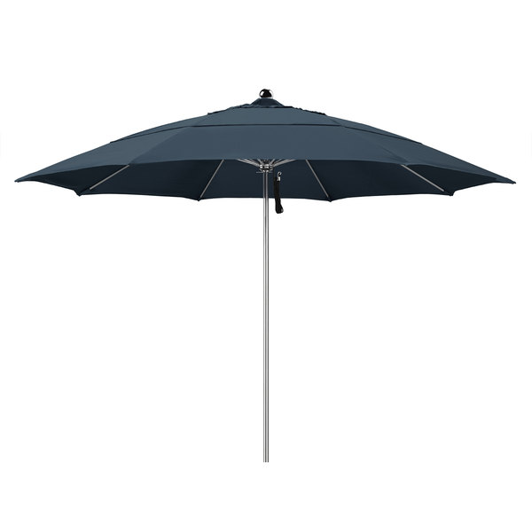 "Sapphire Blue Fabric California Umbrella LUXY 118 PACIFICA Allure 11' Round Pulley Lift Umbrella with 1 1/2"" Stainless Steel Pole - Pacifica Canopy"