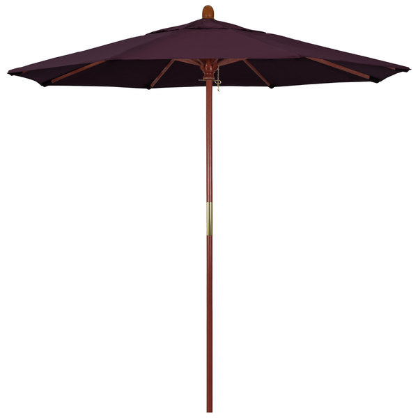 "Purple Fabric California Umbrella MARE 758 PACIFICA Grove 7 1/2' Round Push Lift Umbrella with 1 1/2"" Hardwood Pole - Pacifica Canopy"