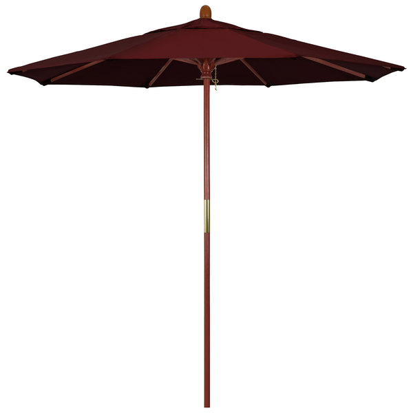 "Burgundy Fabric California Umbrella MARE 758 PACIFICA Grove 7 1/2' Round Push Lift Umbrella with 1 1/2"" Hardwood Pole - Pacifica Canopy"