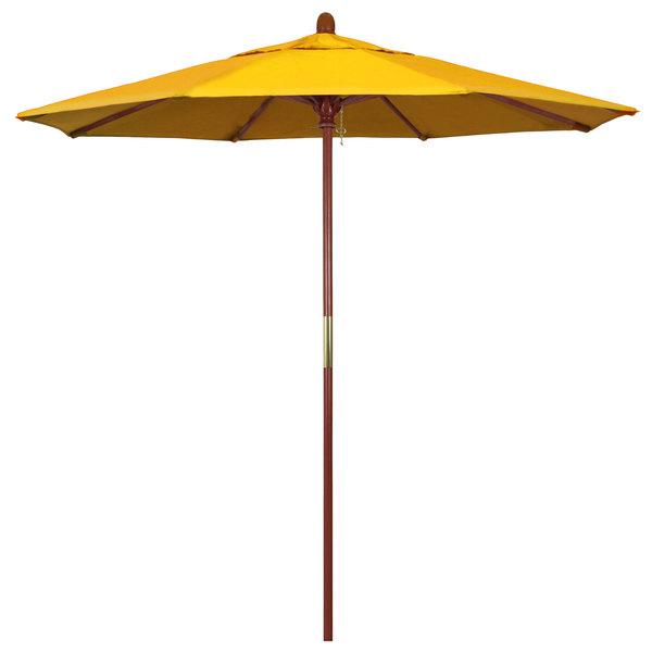 "Sunflower Yellow Fabric California Umbrella MARE 758 SUNBRELLA 1A Grove 7 1/2' Round Push Lift Umbrella with 1 1/2"" Hardwood Pole - Sunbrella 1A Canopy"
