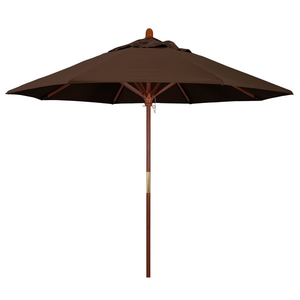 "Mocha Fabric California Umbrella MARE 908 PACIFICA Grove 9' Round Push Lift Umbrella with 1 1/2"" Hardwood Pole - Pacifica Canopy"