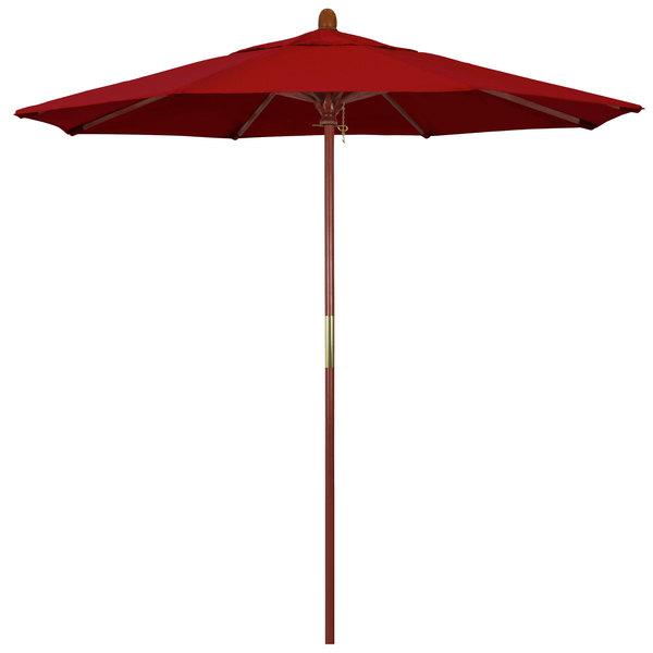 "Jockey Red Fabric California Umbrella MARE 758 SUNBRELLA 2A Grove 7 1/2' Round Push Lift Umbrella with 1 1/2"" Hardwood Pole - Sunbrella 2A Canopy"
