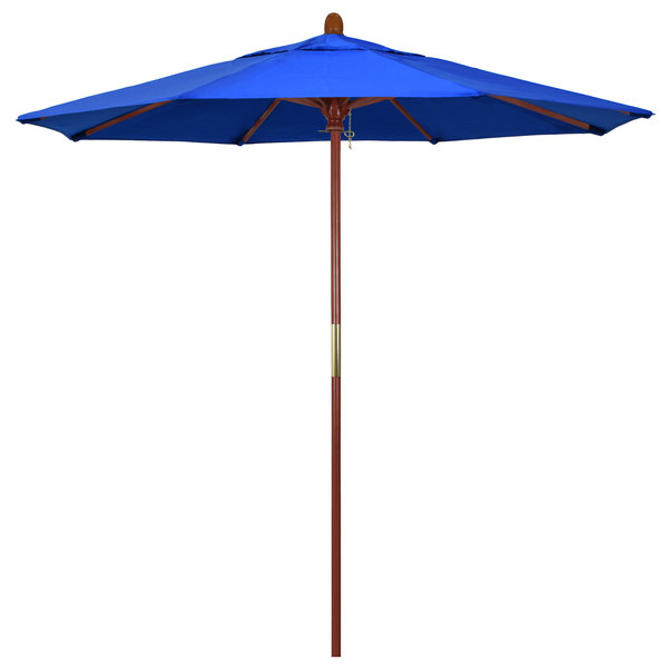 "Pacific Blue Fabric California Umbrella MARE 758 SUNBRELLA 1A Grove 7 1/2' Round Push Lift Umbrella with 1 1/2"" Hardwood Pole - Sunbrella 1A Canopy"